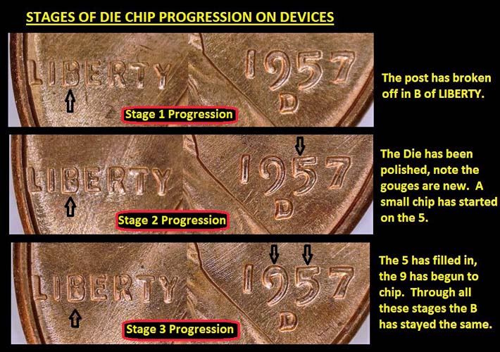1957 D - Lincoln Wheat Cent with a die chip at