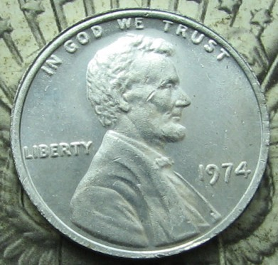 1974 aluminum penny weight