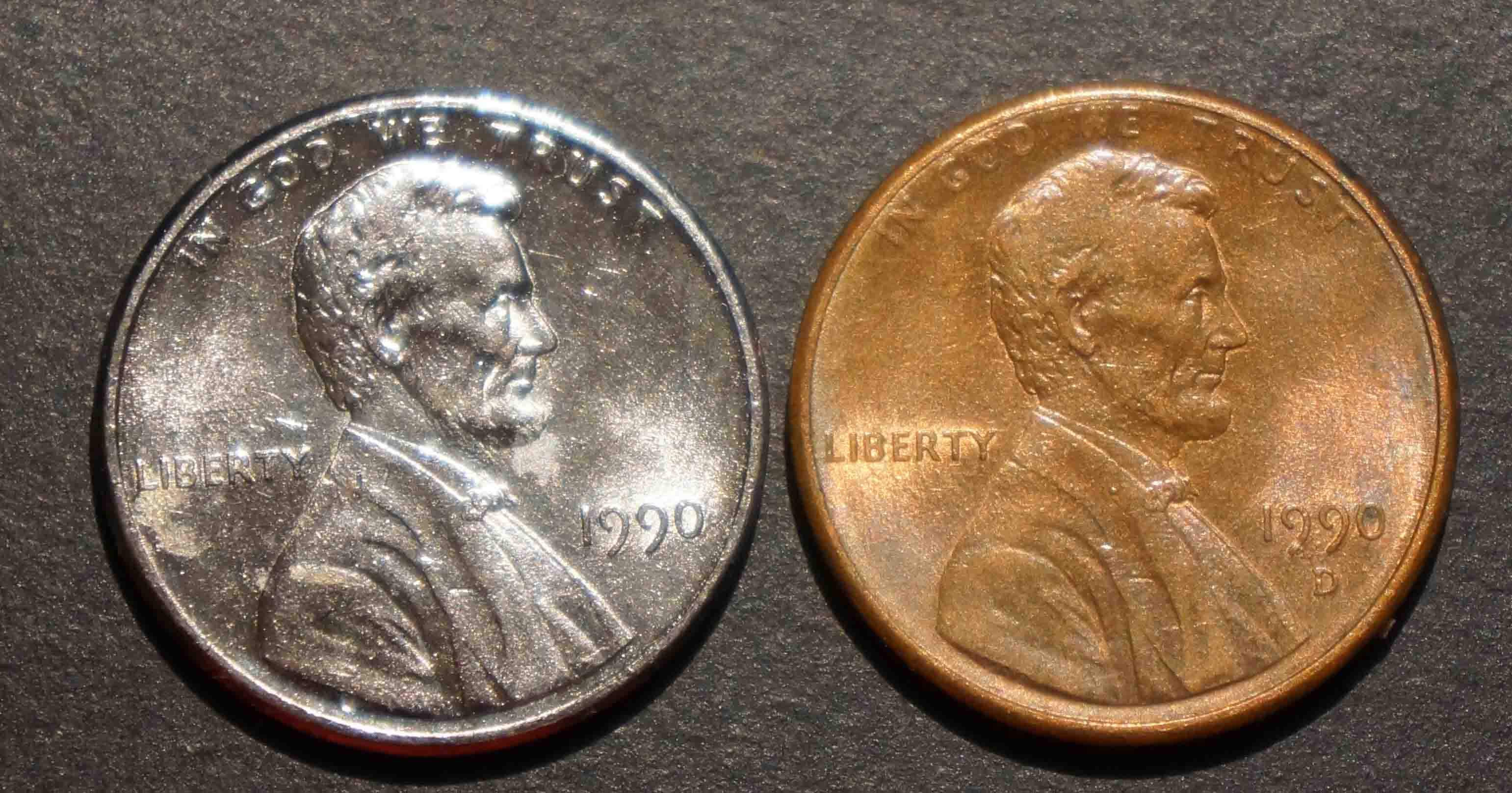 1990 Lincoln Penny Silver in color - Coin Community Forum