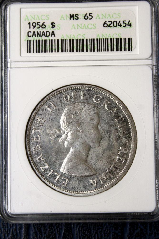 1956 Canadian Silver Dollar MS 64
