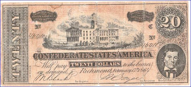 two - 20 dollar Confederate Ratification notes - Coin