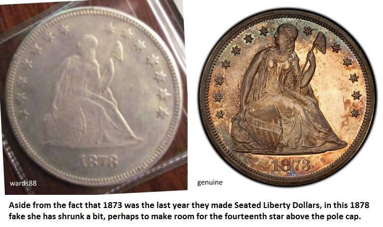Counterfeit Fake 1878 Seated Liberty Dollar Coin