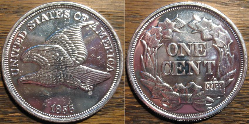 larger than original size COPY of the famous 1856 Flying Eagle cent.