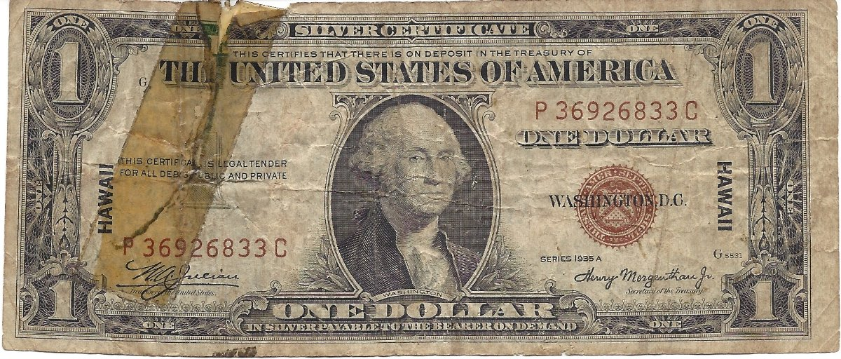 1 Hawaii Silver Certificate Problem Note Value Coin Community Forum