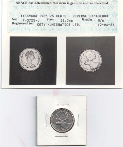 1985 Canadian Quarter accidental early release by RCM - Coin