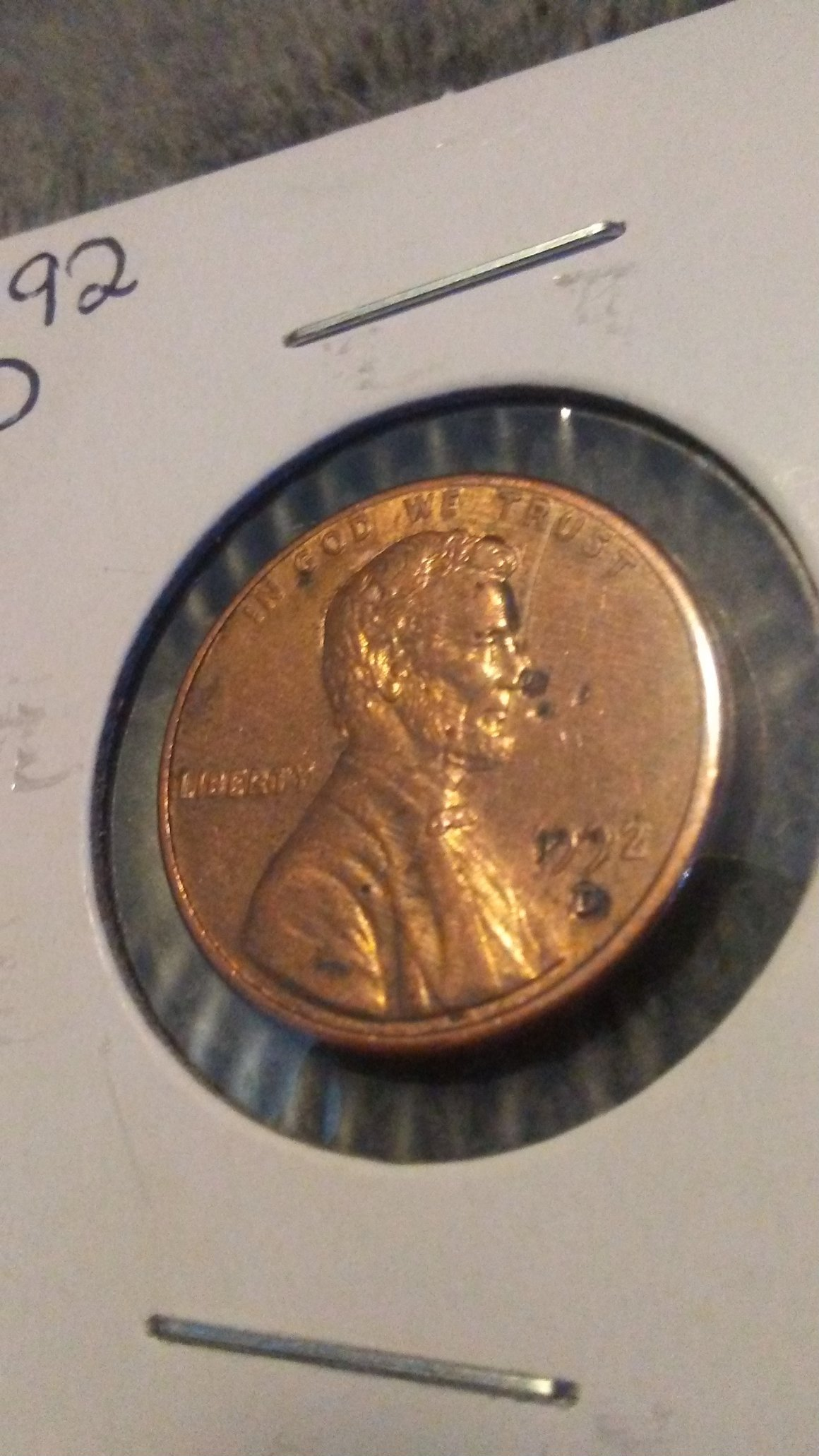 1992 D Lincoln Memorial Penny Die Or Lamination Error