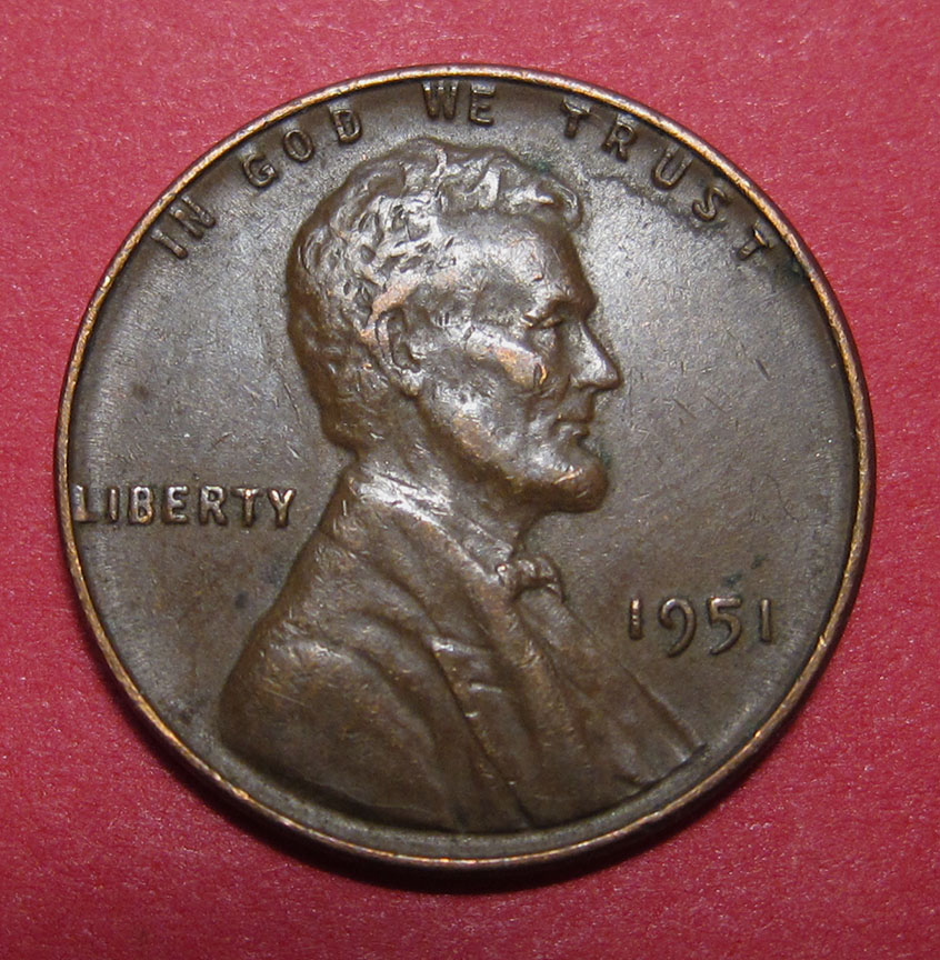 1951 Lincoln Wheat Cent Large Reverse Die Gouge Feeder