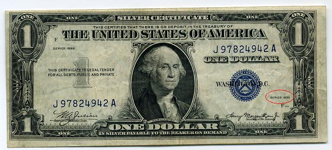 1935 D $1.00 Silver Certificate Very Rare off center back - Coin ...