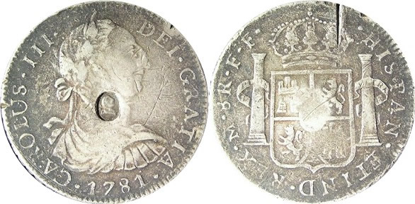 1871 8 Reales Counterfeit Obverse