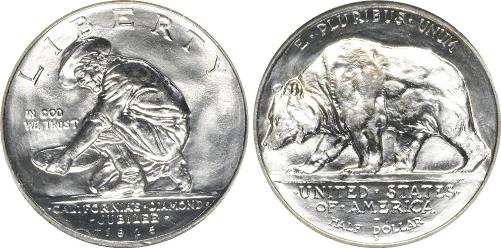 Us California Diamond Jubilee Half Dollar Commemorative