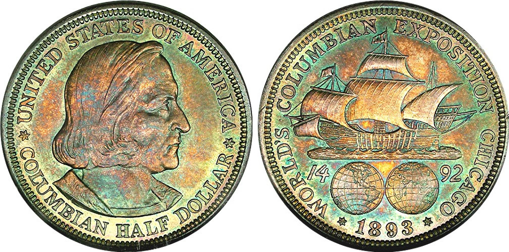 Columbian Exposition Half Dollar Commemorative Beautifully Rainbow Toned Columbian<br />Exposition Half Dollar Commemorative