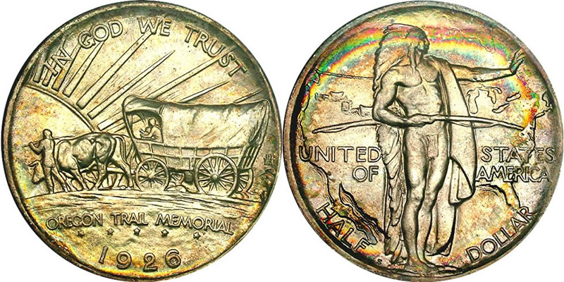 Rainbow Toned Oregon Trail Memorial<br />Half Dollar Commemorative Obverse and Reverse