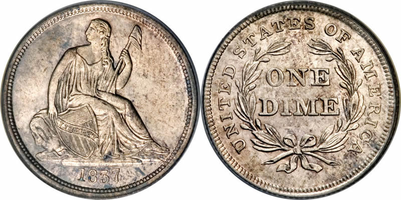 Seated Liberty No Stars Dime 1837 Seated Libery Dime
