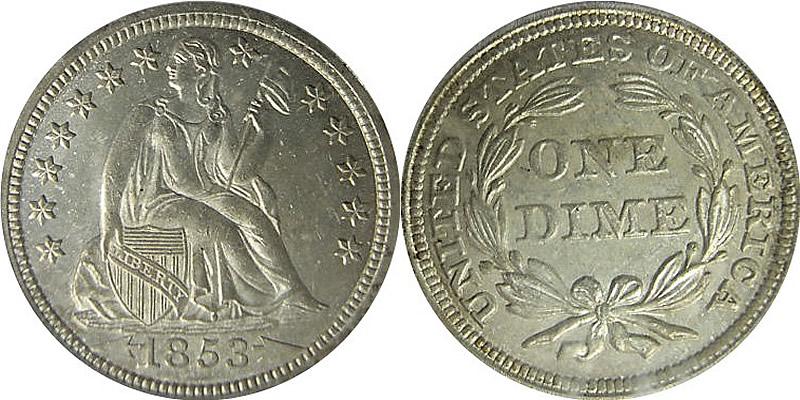 Seated Liberty With Arrows Dime 1853 Seated Liberty Dime with Arrows