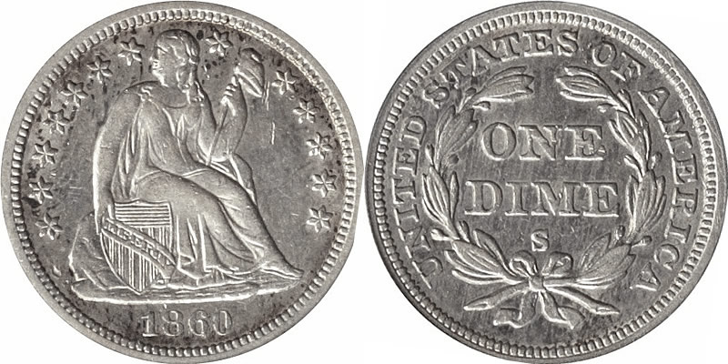 1860 S Seated Liberty dime