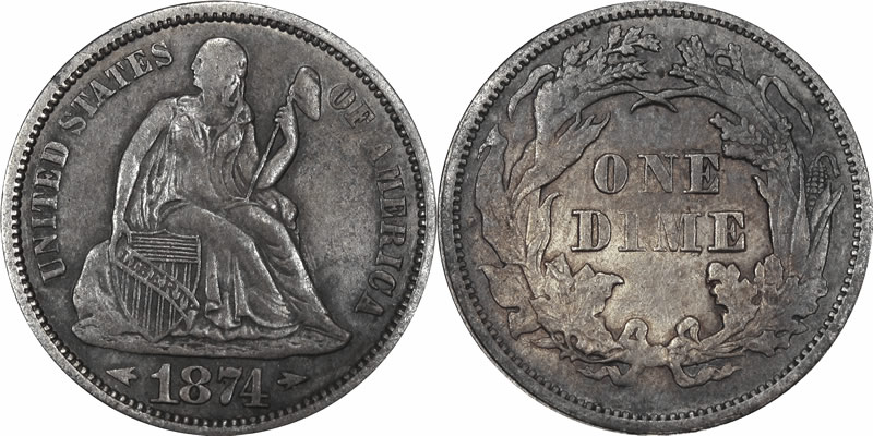 1874 Seated Liberty Dime with Arrows