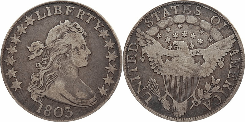 Us 1798 1804 Silver Draped Bust Heraldic Eagle Dollar