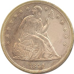 1844 Seated Liberty Dollar Obverse