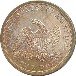 1844 Seated Liberty Dollar Reverse