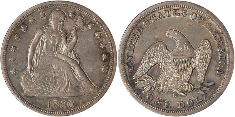 Us 1840 1866 Silver Seated Liberty Without Motto Dollar