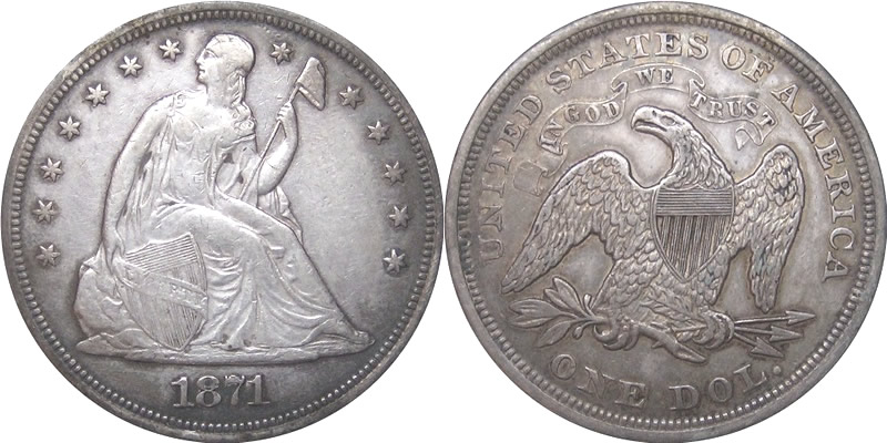 Seated Liberty With Motto Dollar 1871 Seated Liberty Dollar