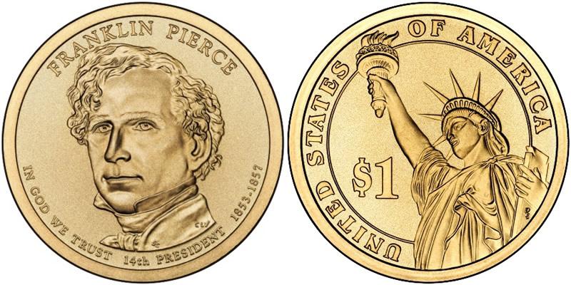 how much is franklin pierce dollar coin worth