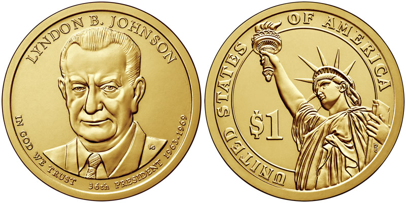 2015 D Lyndon B. Johnson Presidential Dollar