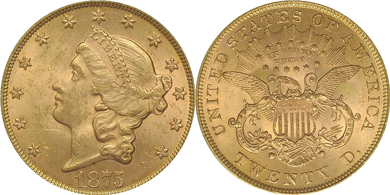 Gold Liberty Head Type 2 Double Eagles 1875 Liberty Head Double Eagle