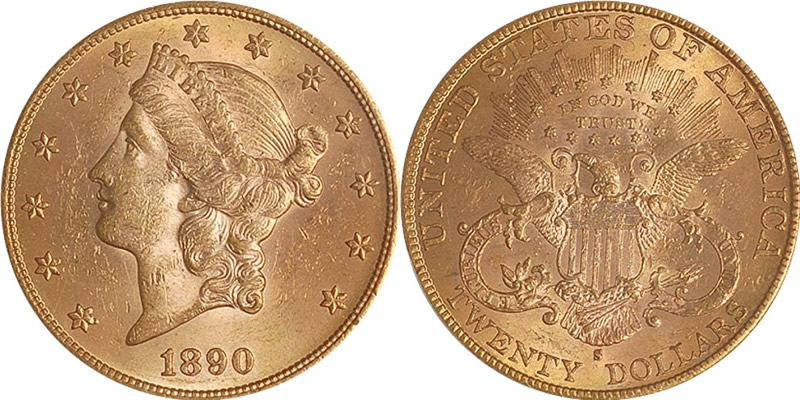 Gold Liberty Head Type 3 Double Eagles 1890 S Liberty Head Double Eagle