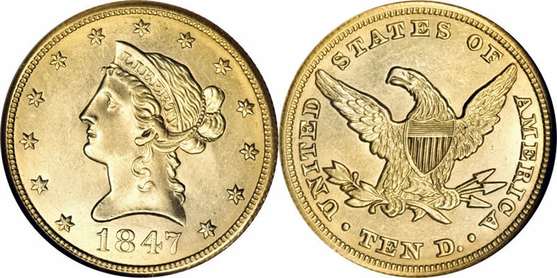 Gold Liberty Head No Motto Eagles 1847 Eagle Without