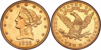 1866-1907 Liberty Head - With Motto Eagle