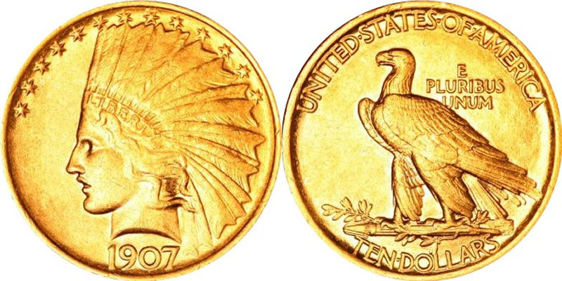 Gold Indian Head Eagles 1907 Indian Head Gold Eagle