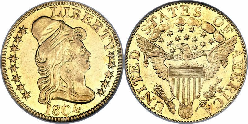 Gold Capped Bust Right Heraldic Half Eagles 1804 Capped Bust Half Eagle