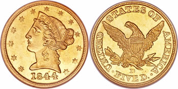 1839-1866 Liberty Head - No Motto Half Eagle