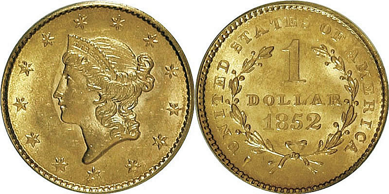1852 Liberty Head Gold Dollar