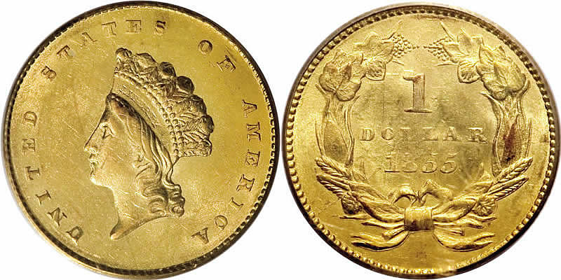 1855 Indian Princess Gold Dollar