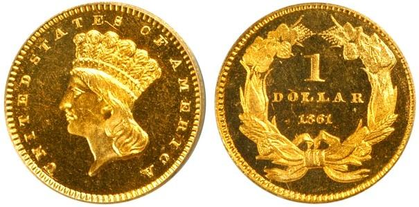 1861 Gold Dollar Type 3