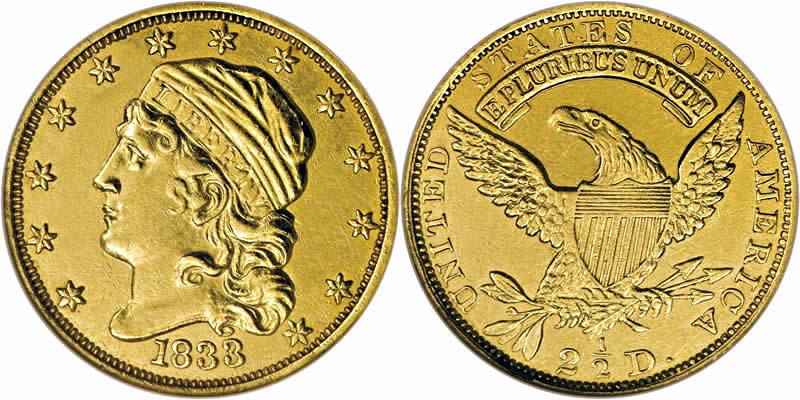 Gold Capped Head Left Quarter Eagles 1833 Capped Head Quarter Eagle