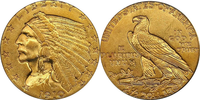 Gold Indian Head Quarter Eagles 1910 Indian Head Quarter Eagle