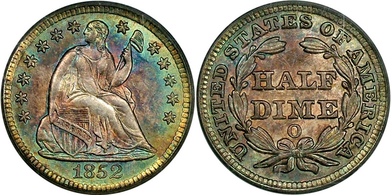 1852 O Seated Liberty Half Dime - PCGS MS 64