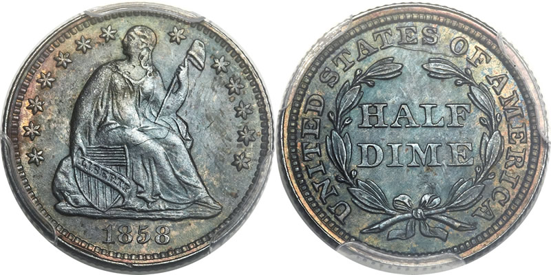 Seated Liberty Half Dime PCGS MS-67
