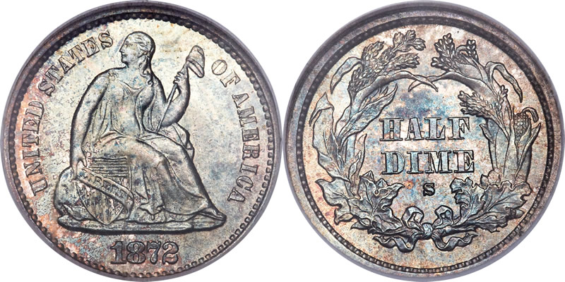 Seated Liberty Half Dime NGC MS-67