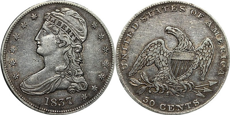 1837 Seated Liberty Half Dollar - Reeded Edge