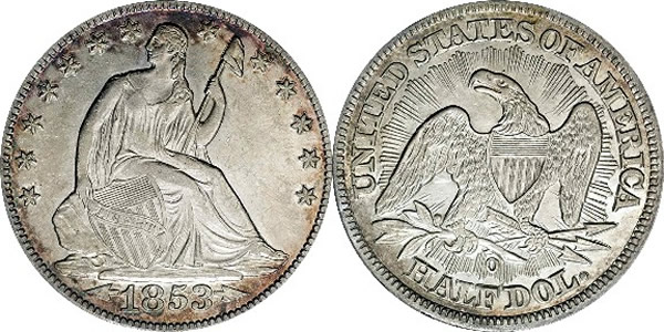 Seated Liberty Half Dollar with Arrows and Rays