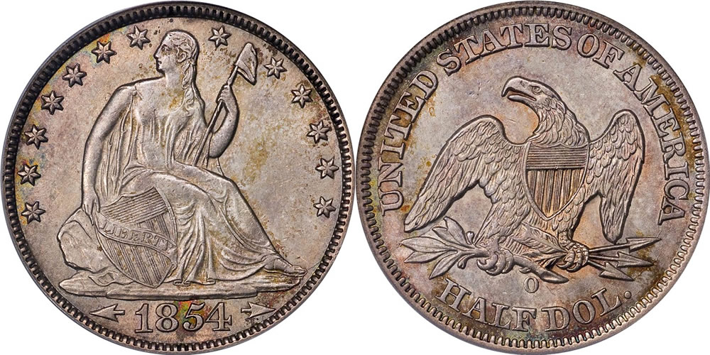 1854 O Seated Liberty Half Dollar - With Arrows at Date