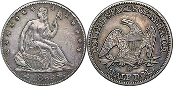 1855 O Seated Liberty Half Dollar