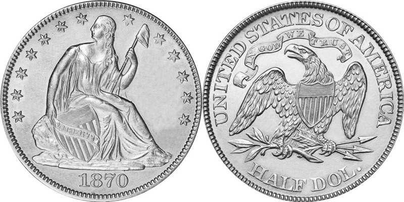 1870 Seated Liberty Half Dollar