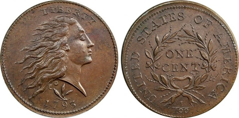 1793 Flowing Hair Wreath Reverse Large Cent