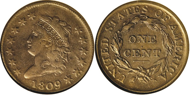 1809 Classic Head Large Cent Obverse and Reverse