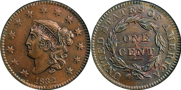 1832 Liberty Head (Matron) Cent Obverse and Reverse